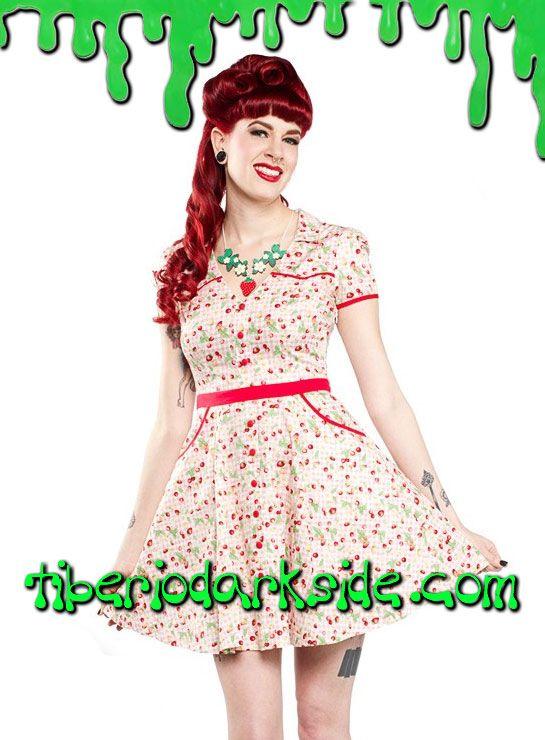 Tiberio Dark Side, - Vestido Hellbilly Cuadros Rosa