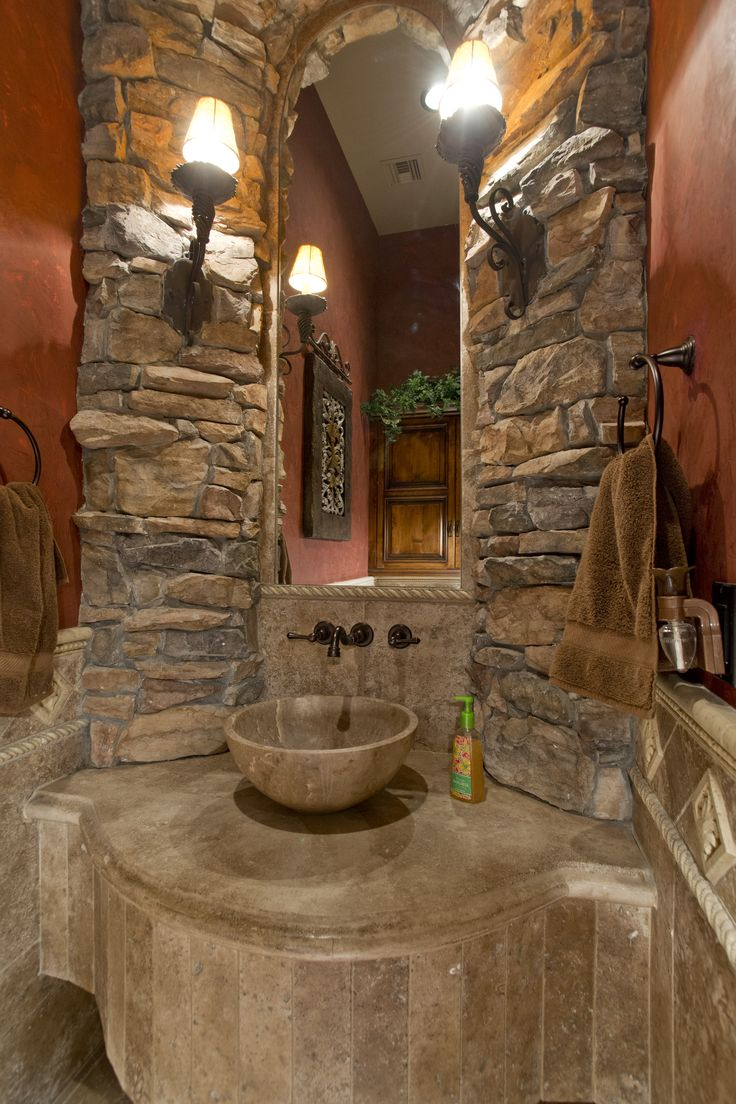 Formal Powder Bath With Stone Vessel Sink Man Cave In