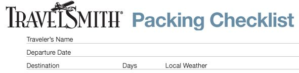 Packing Checklist from Travelsmith