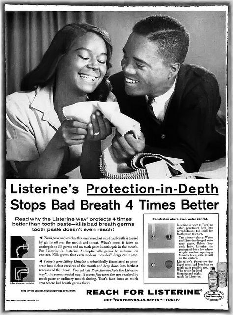 Beneatha & George-Reach for Listerine with Gail Fisher of Mannix TV Show - Ebony Magazine, January, 1961 by vieilles_annonces, via Flickr