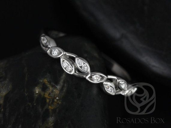 Ambrosia 14kt White Gold Thin Weaving Leaves Diamonds HALFWAY Eternity Band (Available in other metals)
