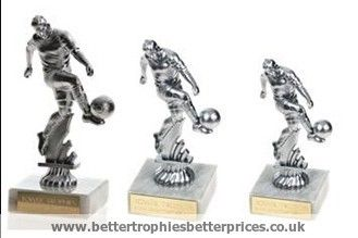 Kicking Footballer Trophy in Silver finish