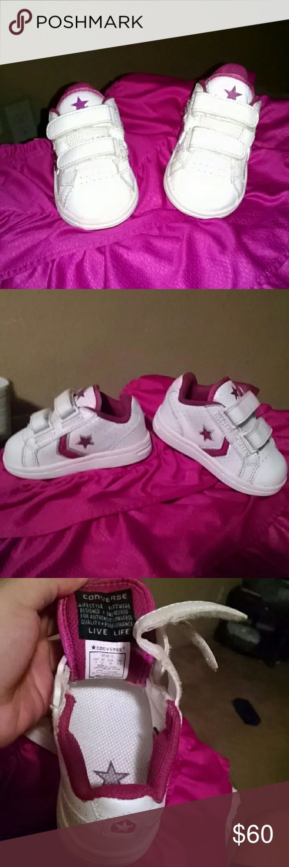 Converse shoes for baby girl Nwot Pink and white Converse Shoes
