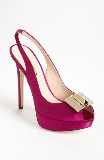 Gucci ~ Fuchsia Satin Peep Toe Slingback Heels