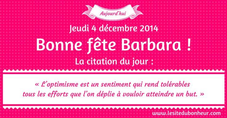Aujourd'hui nous fêtons les « Barbara » et Joyeux Anniversaire a tous ceux né ce jour http://www.chantalemedium.com/pensee-du-jour-passions-dive…/