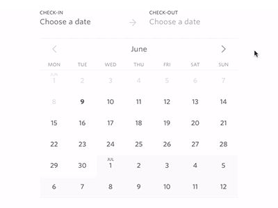 Hello Dribbble!  First of all, many thanks to @Freddie Iboy for the invite and kindness.  This calendar / date picker is part of the checkout page of a hotel booking engine web app currently in the...