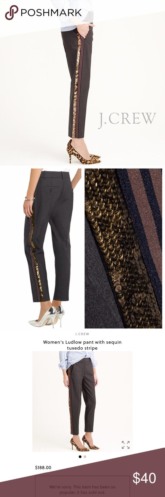 J. Crew Ludlow with sequin tuxedo stripe pant •See above details   No trades All offers considered  All orders shipped within 24hrs (business day) J. Crew Pants Trousers