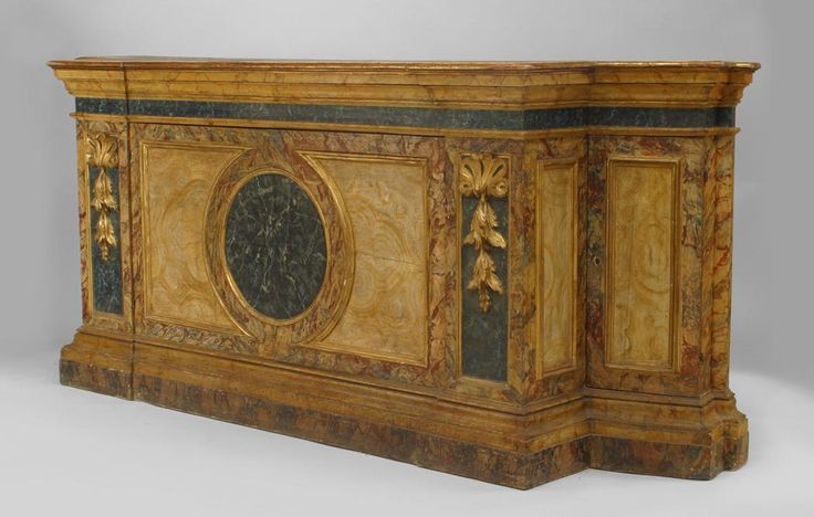Italian Venetian (18th Cent) faux marble painted credenza cabinet with stepped back sides and carved gilt trim with 2 large front and 2 smaller side doors