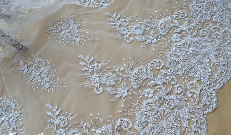 Fashion 3D lace fabric ,beaded Lace Fabric, French lace, Bridal lace Wedding lace White lace Veil lace Scalloped Floral lace Lingerie lace by AnnabelleDIY on Etsy
