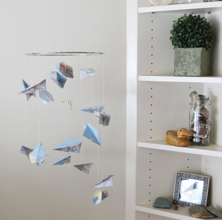 Map Airplane Mobile - Origami Airplane PaperPlane Home Decor Map Paper Nursery Mobile Airplanes Mobiles Kids Gifts by EnchantedPendulosity on Etsy