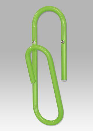 """83972-30 LIM Nástěnný věšák """"kancelářská spona"""" v limetkově zelené barvě."""