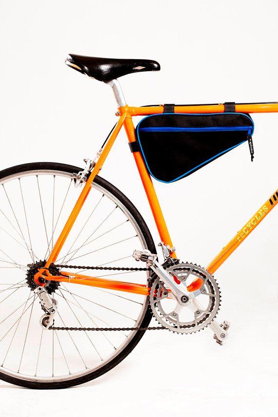 Eigenbau POPCYCLE Fahrradtasche Rahmen.   Gewachstem Canvas. Wasserdicht. Für Männer-Stil-Fahrrad. Farbe: Schwarz + blau Dim. 34x21x4cm  ACHTUNG!!! Reißverschluss-Schieber ist Silber Farbe    Design von POPCYCLE  www.popcyclebags.com