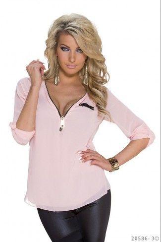 Σιφόν μπλούζα με δαντέλα - Ανοιχτό Ροζ