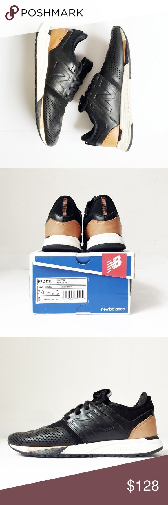 NEW BALANCE MRL247BL LUXE pack black shoes men 7.5 NEW BALANCE  MRL247BL Luxe  sold out.   men's 7.5 black, white, tan.  light wear, scuffing, creasing. inspect photos. professionally cleaned + disinfected.  comes in its original box. I do not sell inauthentic items.  high tops adidas running sneakers basketball nike leather air jordan retro mid running athletic training trainer yeezy flyknit kanye 350 y3 jeremy scott flight club hypebeast sneaker head collector's goat skate sb skateboard…