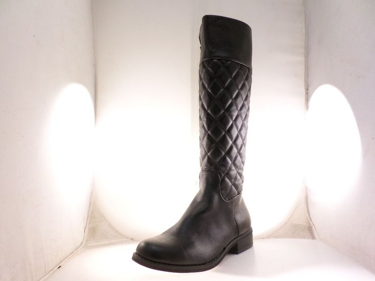 MIA Women's Coraline Black Quilted Zip Up Knee High Riding Boots Size 6  #MIA #MidCalfBoots