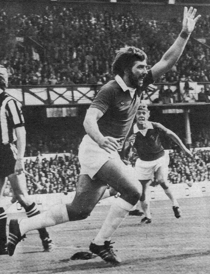 13th September 1975. Everton centre forward Bob Latchford celebrating his goal against Newcastle United, at Goodison Park.