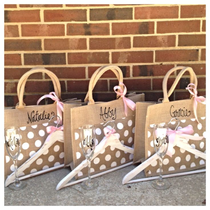 Bridesmaid Gift Package - Bridesmaids Burlap Tote, Bridesmaid Champagne Flute Personalized, Personalized Bridesmaid Hanger w/ Wedding Colors by TheBeezeKnees on Etsy https://www.etsy.com/listing/195625131/bridesmaid-gift-package-bridesmaids