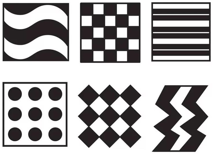 Черно-белые картинки для распечатки для младенцев геометрия