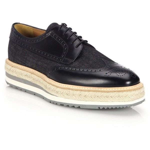 Prada Denim and Leather Creeper Brogue Platforms : Prada Shoes (3.375 BRL) ❤ liked on Polyvore featuring men's fashion, men's shoes, men's oxfords, apparel & accessories, black, mens platform shoes, mens denim shoes, prada mens shoes, mens leather shoes and mens creeper shoes