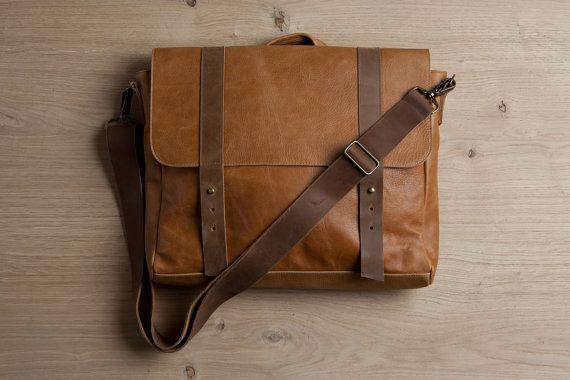 Brown men's satchel bag, Genuine leather bag, student backpack ...