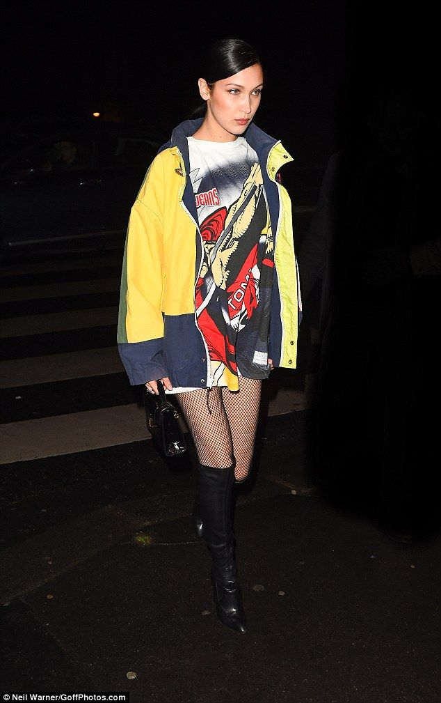 Model material:Bella proved her selection of stylish ensembles has still not run out on Tuesday, as she stepped out in another sexy but chic look at Tommy Hilfiger's bash in Paris