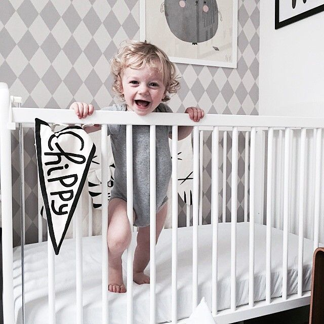 Cute overload from @cissywears in this kids room with our ferm LIVING Harlequin Wallpaper in grey - http://www.fermliving.com/webshop/shop/kids-room/kids-wallpaper/harlequin-wallpaper-grey.aspx