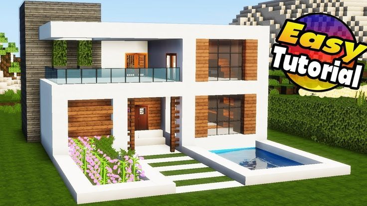Minecraft How To Build A Simple Modern House Teaching You How To Build In Minecraft Creati Minecraft Modern Minecraft House Tutorials Minecraft House Designs