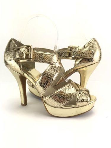 da415af7a4f6 Michael Kors Gold Heels Sz 8 Metallic Leather Platform Stiletto Snake  Embossed