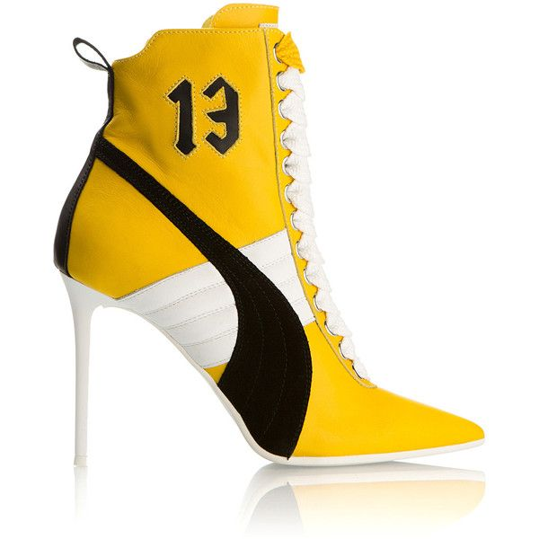 Fenty X Puma Yellow High Heel Sneakers (865 AUD) ❤ liked on Polyvore featuring shoes, sneakers, yellow suede shoes, puma footwear, pointy toe sneakers, suede leather shoes and suede sneakers