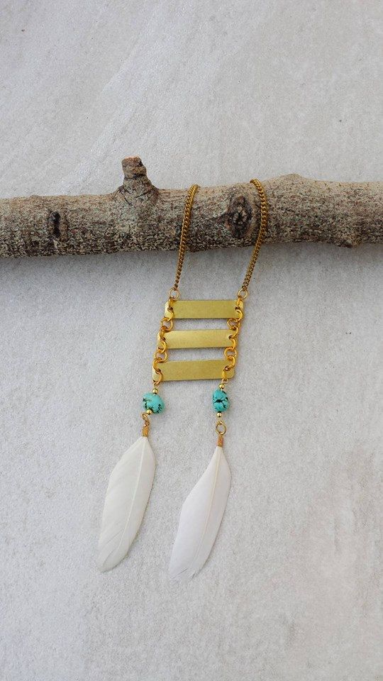 Aztec Necklace, Geometrical Turquoise Pendant, Brass White Feather Necklace, Christmas Gift by Lycidasjewelry on Etsy