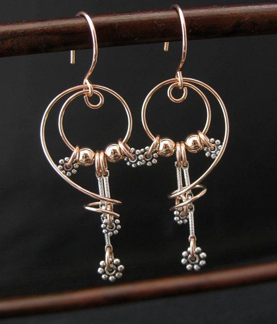 Mixed Metals Yellow or Rose Goldfill Silver by LoneRockJewelry