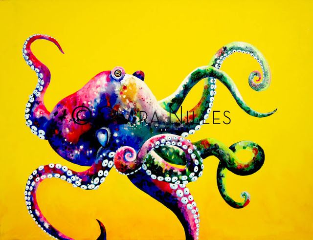 OctoGlow on Marigold 30x40 acrylic on canvas