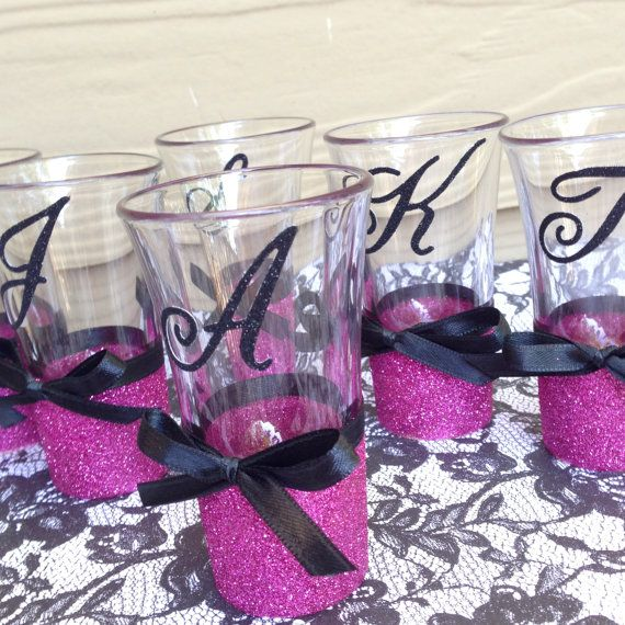 Personalized Glitter Shot Glasses x1  Choice by heartsparklegifts, $6.00