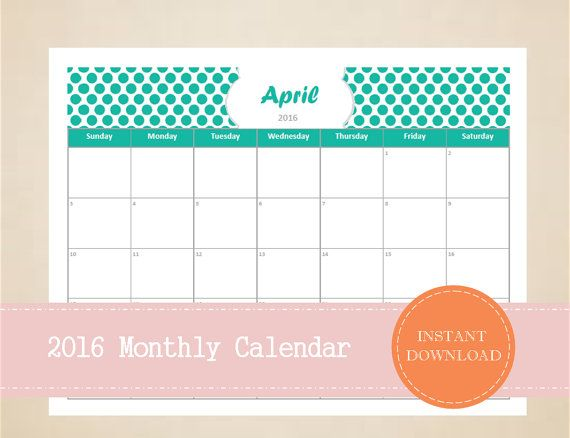 Printable 2016 Monthly Calendar  Editable by MBucherConsulting