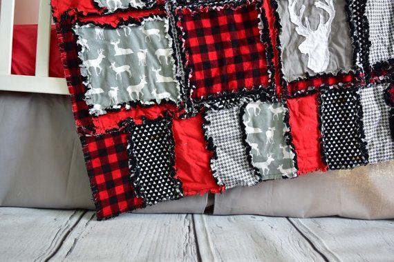Woodland Crib Set Gray / Black / Red Crib Bedding Baby Bed  #boynursery #boynurseryideas #babyboy