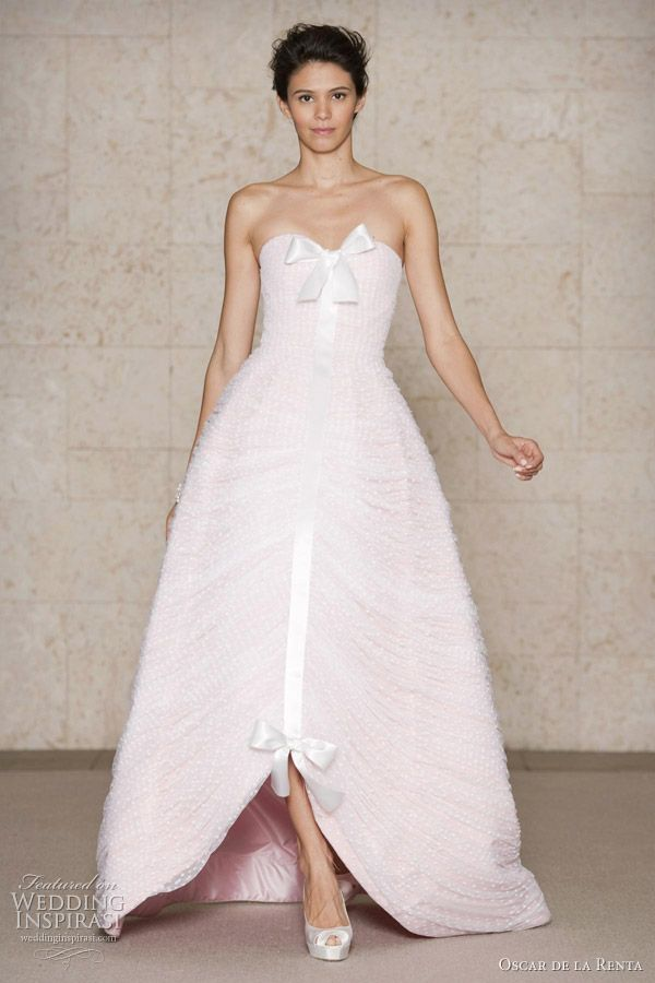 Oscar de la Renta pink wedding dress 2011 Fall/Winter Bridal collection - petal faille gown with white ruched tulle overlay