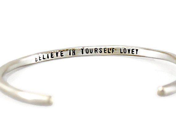 Believe In Yourself Personalized Silver Cuff Bracelet.