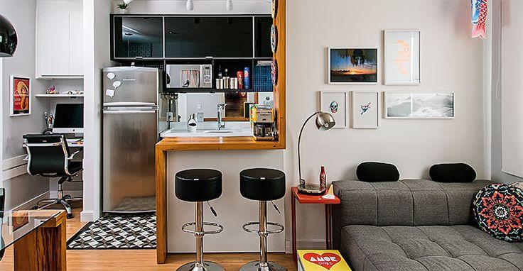 Coube até escritório neste apê de 33 m²! | <i>Crédito: Luis Gomes