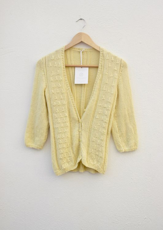 Yellow Leaf pattern Jersey made from lightweight, smooth spun yarn.