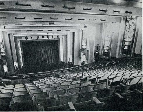 Empire Theatre Johannesburg, interior. The very stately and ornate auditorium had both stalls and circle seating and when used as a cinema had a single screen set halfway into the vast stage area. The total seating capacity was 1562.