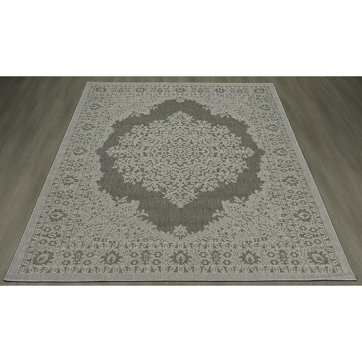 Genoa Damask Medallions Power Loom Light Gray Indoor/Outdoor Area Rug