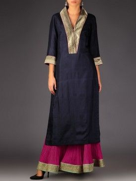 Navy - Golden Brocade Detailed Silk V-Neck Kurta