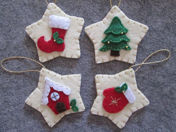 Ornaments Christmas ornaments Set of 4 Felt by TinyFeltHeart