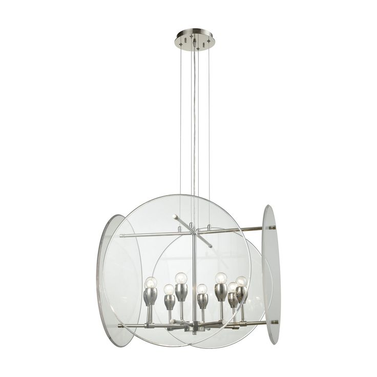 Elk Disco 8 Light Chandelier In Polished Nickel With Clear Acrylic Panels Chandelier item number 32323/8