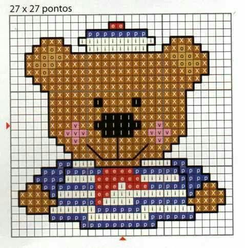 Ponto cruz urso navy