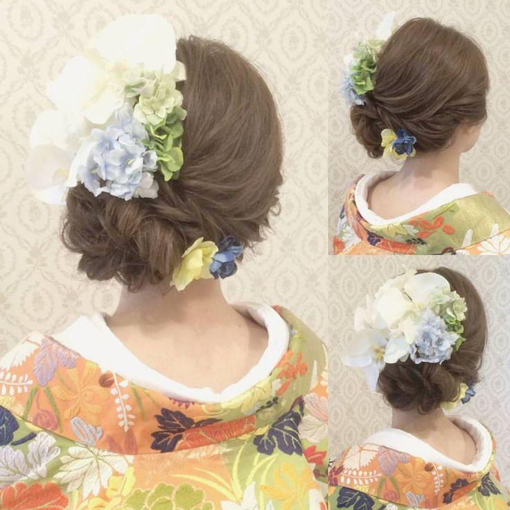 いいね!180件、コメント1件 ― R.Y.K Vanilla Emuさん(@ry01010828)のInstagramアカウント: 「結婚式の前撮り 和装ロケーション撮影のお客様 きれいめアップ 左下に寄せました 黄緑とオレンジの 爽やかでかわいい色打掛に合わせて 白や緑、青のお花を沢山付けました #ヘア #ヘアメイク…」