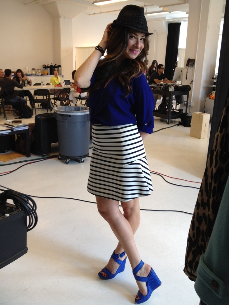 Our Stylist-in-Chief & Editor-in-Chief of @Westfield Style W Style FW 2012, Stacy London at the magazine shoot wearing top and skirt by Ann Taylor, shoes by Stuart Weitzman, and hat by Bebe