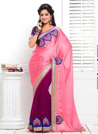 Deepika Singh Magenta And Hot Pink Satin Chiffon Border Work Half N Half Saree