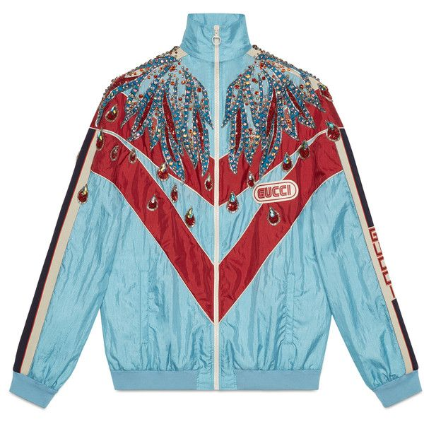 8918ccbf Gucci Embroidered Nylon Jacket ($5,800) ❤ liked on Polyvore ...