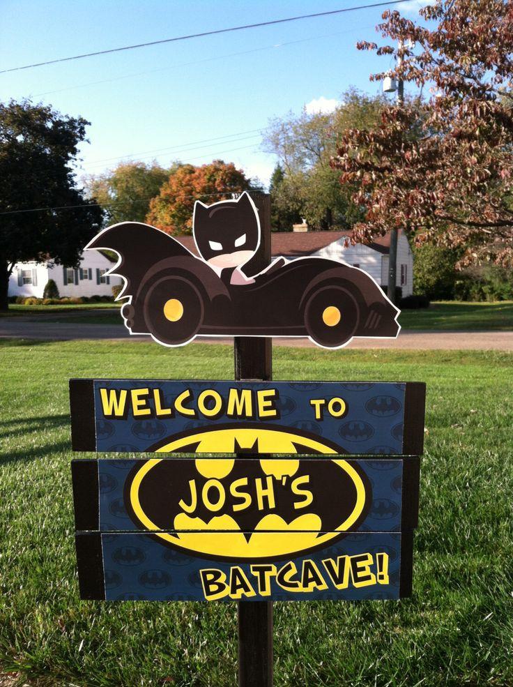 Superhero Batman Batcave Blue Birthday Yard Sign by TickleMeParty on Etsy https://www.etsy.com/listing/206793171/superhero-batman-batcave-blue-birthday